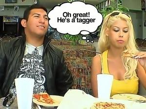 Gorgeous blonde Latina Bridgette B with big boobs enjoys graffiti art