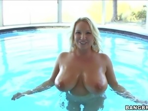 Heavy chested blonde milf Rachel Love gets really horny and