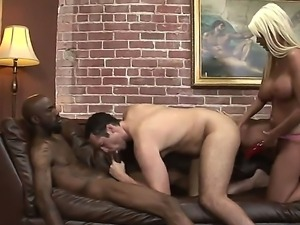 Jordan Blue is having steamy hot fun with a black dude and white stud during...