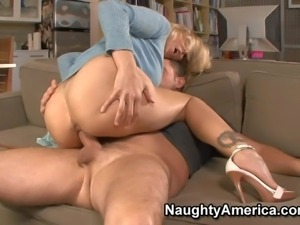 Julia Ann is his wife's super hot friend. Blond milf