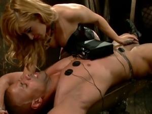 Blonde mistress tortures cock