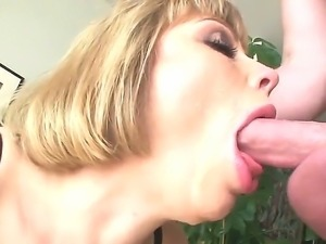 Gorgeous blonde named Adrianna Nicole gives an amazing blowjob to Jonni Darkko