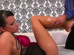 Foot fetish video with horny tattooed brunette and her perverted friend