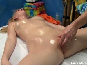 Lovely blonde angel allie gets her pussy massaged