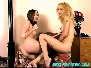 Hot ass lesbian spanking