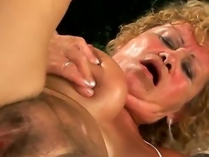 Old granny freaked by her boyfriend on her hairy sweet pussy.