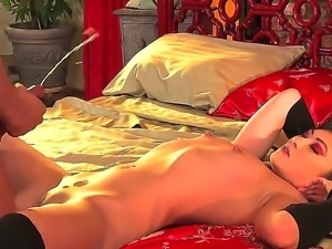Sexy asian chick Mika Kim pleases hunk by letting him smash that fine pussy
