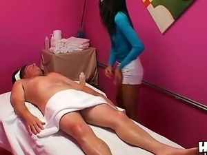 Welcome to a massage room where spicy brunette Kyle Stone appeasing lucky...