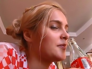 Have a look at beautiful kincky blonde slut with coca-cola bottle plugging...