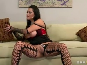 Hot brunette Nikita Denise in black fishnet stockings shakes her