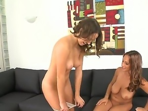 Horny lesbians Jasmine Maybach and Lily Love with big natural knockers get...