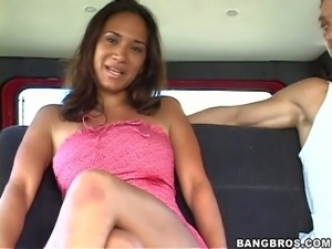 Young looking amateur brunette sexy Iabella with natural boobs and