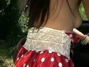 Kinky teen Marica Hase likes finger fucking her hairy twat during outdoor...