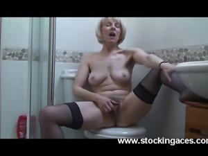Sexy mature Hazel masturbating in bathroom Thx to stockingaces.com