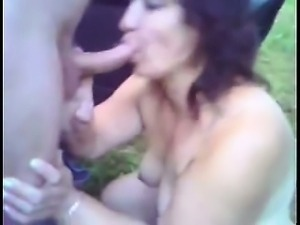 NASTY Mom sucking outside