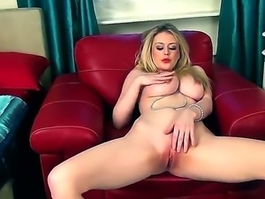 Busty blonde beauty Brook Little enjoys intense pleasure deep masturbating...