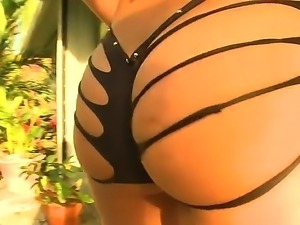 Beautiful brunette Alexis Breeze shows her sexy ass and takes her fuckers dick