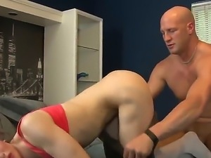 Delicious brunette tgirl Jacqueline Woods strokes her stiff dick while being...