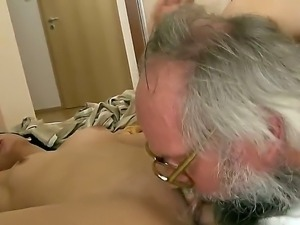 Old dude having a massive cock enjoys a sweet bj from a hot brunette babe...
