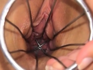 Weird kitchen toy in her hole cunt