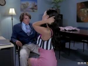Arousing dark haired secretary Asa Akira enjoys in seducing her boss Tyler...