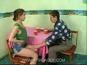 Dad fucked Young Teen Daughter on Table at Home free