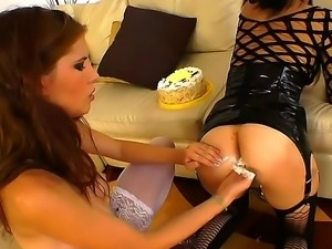Tasty fuckable horny lesbian bitches Aspid and Tanata enjoy anal pounding...