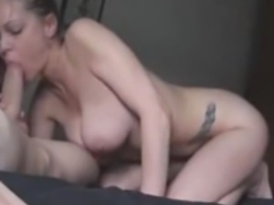 Big Tited Brunette Sucking Cock