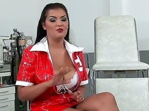Pretty black haired tempting nurse Jasmyne Black with big jaw dropping...