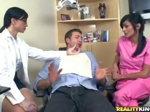 Dentist Jewels Jade and her assistant Persia Pele find Jordan