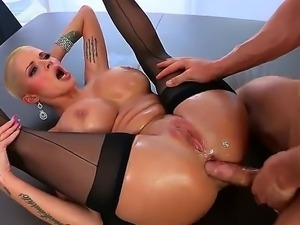 Cunilingus lover dude Erik Everhard has licked off blonde chick Joslyn Jamess...