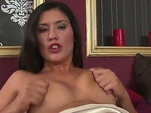 Turned on pretty brunette Diana Stewart with long sexy french manicure and...