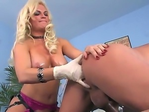 Diamond Foxxx loves to stick her fingers into tight Vin Deacon ass and he...