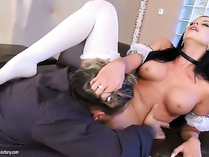 Brunette hoochie Larissa Dee and hard dicked fuck buddy satisfy their sexual...