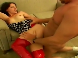 Femdom slut fucks a guy with strapon