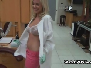 Bigtit blonde dentist fucked at clinic