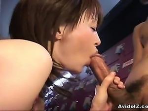 Japanese babe gives awesome deepthroat Uncensored
