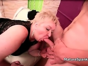 Obese mature woman with round and fat part6