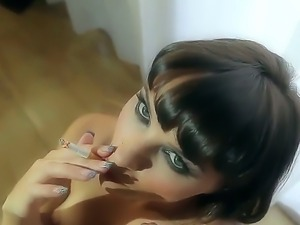 Provocative cheep looking brunette bitch Alysa with small titties and dark...