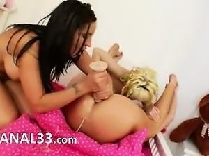 Three anal sluts exchanging anal sperm
