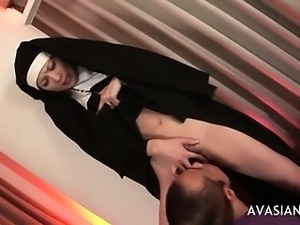 Beautiful asian nun gets her hairy pussy licked