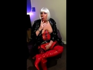 Chrissie smoking a Superking Menthol in PVC view #2