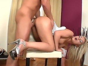 Beautiful blonde babe Queen Christin gets a great ass fuck from handsome stud...