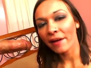 Nasty bitch Crissy Moon stays nude, stands on knees and gives deep throat to...