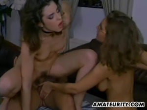 A very hot homemade amateur hardcore threesome with cumshot in mouth ! 2...