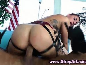 Strapon femdom babe fucks until he cums
