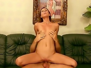 Horny old man with a mustache is lucky to have Kim Kay with him. She sucks...