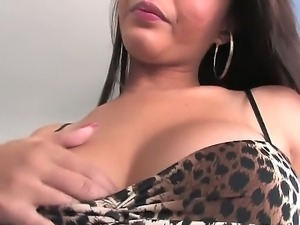 Adorable dark haired asian shemale babe Taylor Stewart with big round hooters...