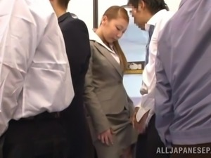 japanese lady gives blowjob on crowded train