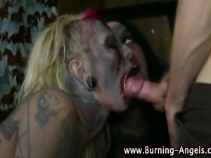 Emo punk rocking fetish zombie sluts